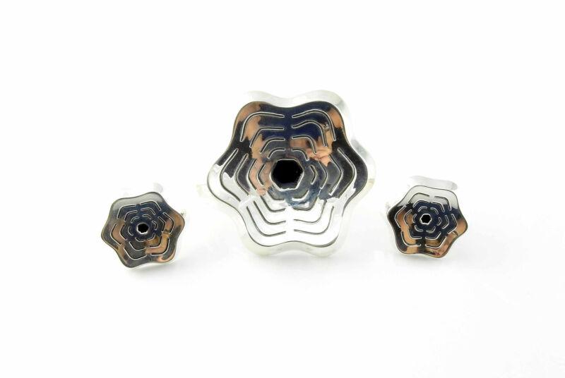 Vintage Denmark Sterl Silver Modernist Flower Pin & Clip-On Earrings Set #5853