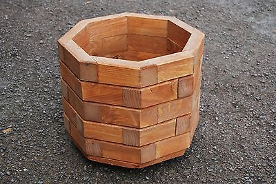 Wooden Octagonal Pot, Set of Two, 32 cm Long of Solid Spruce in Mahogany Color