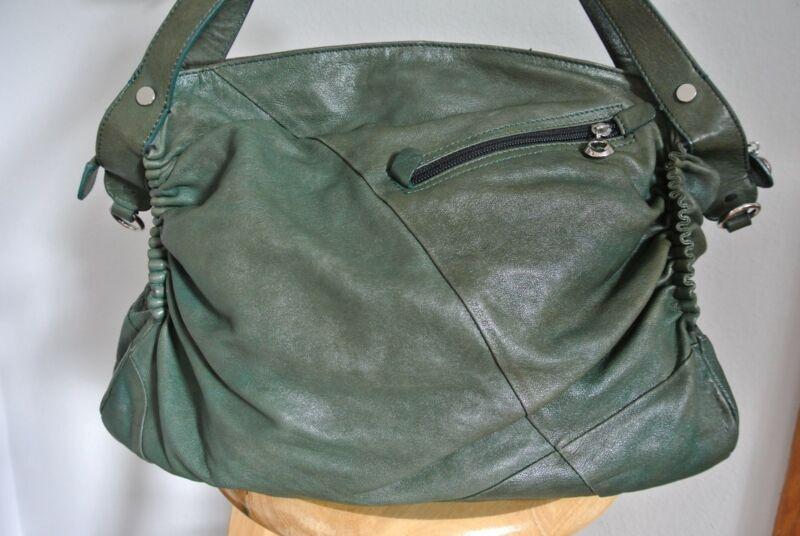 Chocolat Blu Leather Hobo Shoulder Bag Forest Green EUC