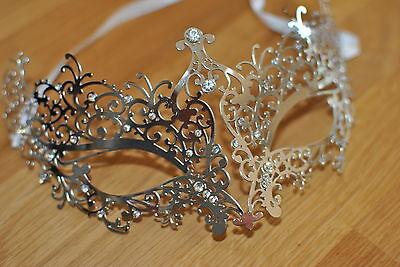 Venetian Silver Metal Mask Filigree Masquerade/ Ball/ Halloween. Prom . UK - Venetian Halloween Masks Uk