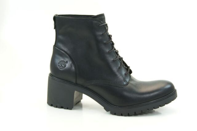 Womens Timberland Averly Black Lace up Smooth Leather Chukka BOOTS ...