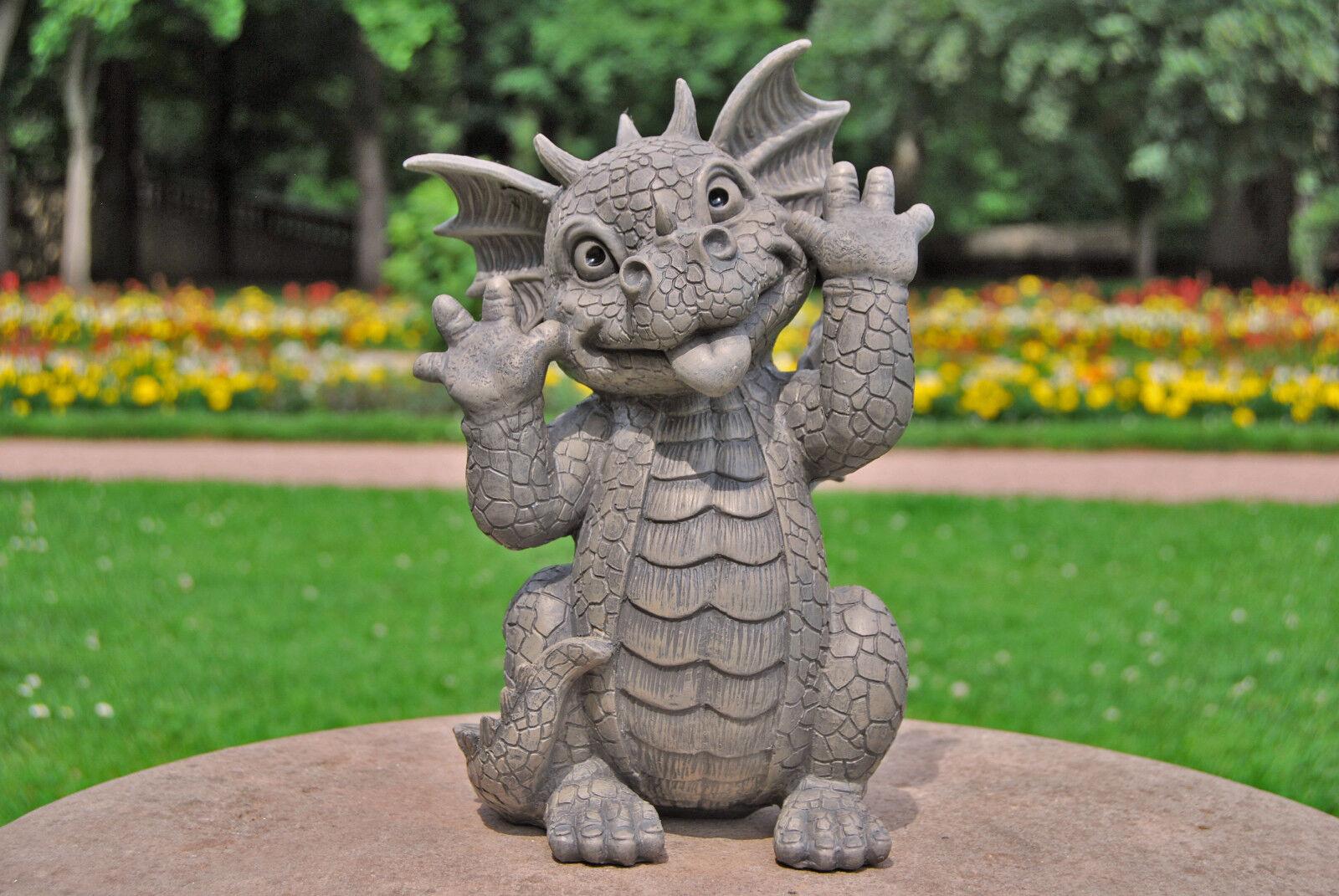 Gartendrache schneidet Grimassen - Gartenfigur Deko Statue Skulptur Fantasy