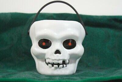 VINTAGE HALLOWEEN SKULL BUCKET CANDY PAIL SKELETON HEAD BLOW MOLD TRICK OR TREAT