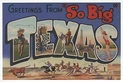 "Greetings from "" So Big "" Texas, Cowboys, Horses -- Modern Large Letter Postcard"