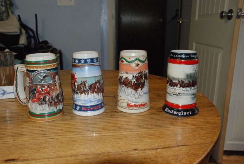 4 BUDWEISER HOLIDAY STEIN CHRISTMAS SERIES BEER MUG ANHEUSER BUSCH