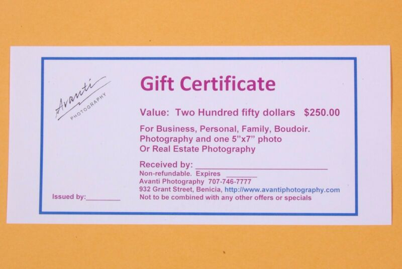 PHOTOGRAPHY GIFT CERTIFICATE for portrait,Business  Boudoir and REAL ESTATE.