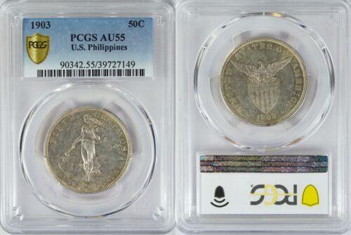 1903 US/Philippines 50 Centavos ~ PCGS AU55 ~ 90% Silver ~ Allen#13.01 ~ 149