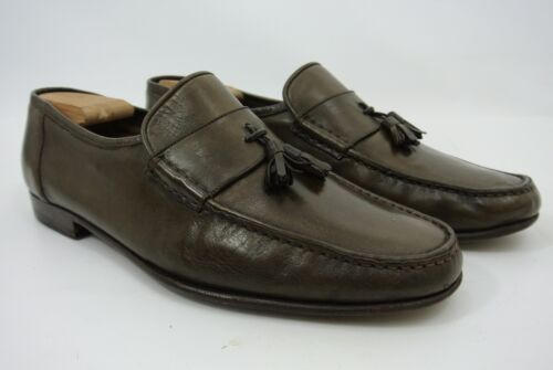 98307186270 Santoni Italy Brown Leather Tassel Loafers Men s Slip On Shoes 11.5 ...
