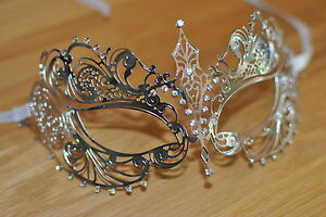 Venetian Silver metal mask  Clear Diamonte  Filigree Masquerade/ Ball/ Prom .UK