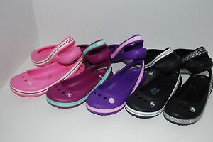 NWT-CROCS-GENNA-II-GIRLS-PINK-BLACK-PURPLE-9-10-11-11-12-5-6-slingbacks-sandals