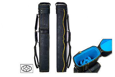 Delta 2x5 YELLOW HUSTLER Case - Memory Foam - Leather Pool Cue Stick Case Foam Leather Pool Cue Case