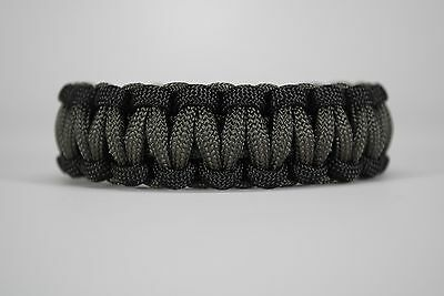 550 Paracord Survival Bracelet Cobra Black/Charcoal Gray Camping Tactical