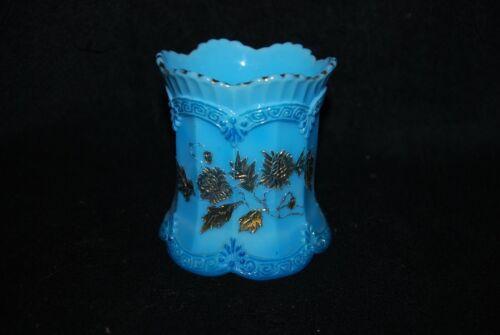 GREAT VICTORIAN NORTHWOOD BLUE OPAQUE CHRYSANTHEMUM SPRIG SPOONER C1900