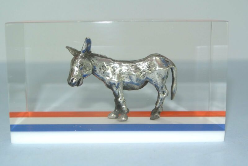 Vintage Clearfloat Acrylic Lucite Democratic Donkey Paperweight ~ MINT CONDITION