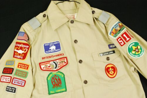 Boy Scouts of America Uniform Long Sleeve Button Up Shirt Patches Mens S BSA