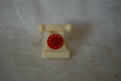 Doll House Miniature White Desk Phone with Rotary Dial Old Fashion Telephone for sale  Columbus Grove