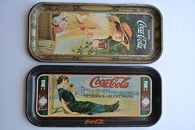 (2) Coca-Cola COLLECTIBLE Metal Trays ELAINE + WOMAN on BEACH 19