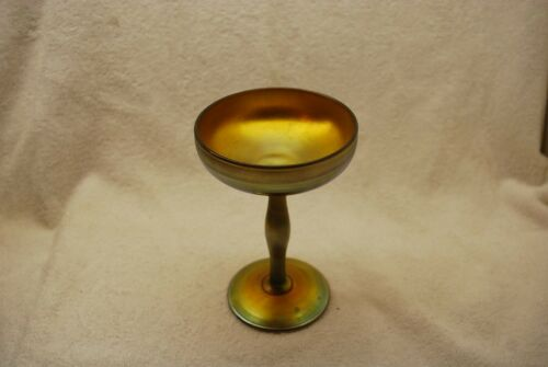 BEAUTIFUL SIGNED STEUBEN GOLD AURENE IRIDESCENT JELLY COMPOTE C1910