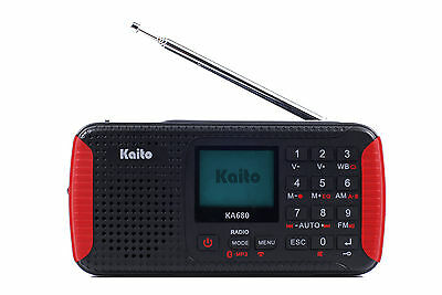 Kaito Ka680 Solar Crank Emergency Am Fm Weather Radio With Bluetooth And Record