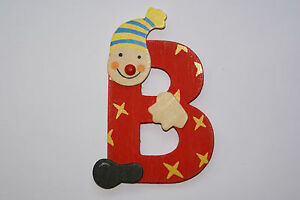 Lettre prenom de porte clown en bois b rouge d coration for Decoration fenetre clown