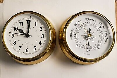 Made in Germany Brass Ships Clock and Barometer - RARE 1960 indoor NIB