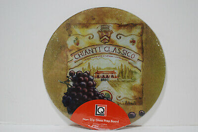 Living Quarters Non-Slip Round Tempered Glass Prep Cutting Board Grape Wine Tempered Glass Prep Board