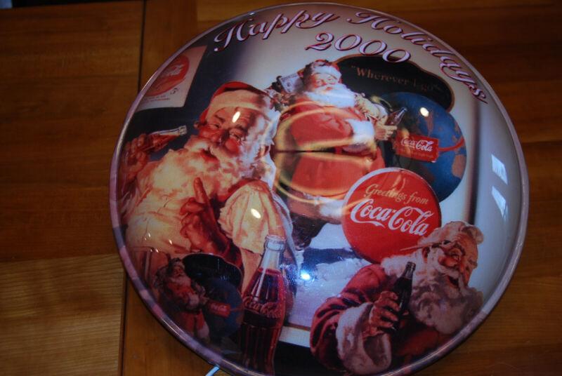 Vintage Coca Cola Coke Limited Ed Lamp Light Three Santas 2000 Disk Christmas