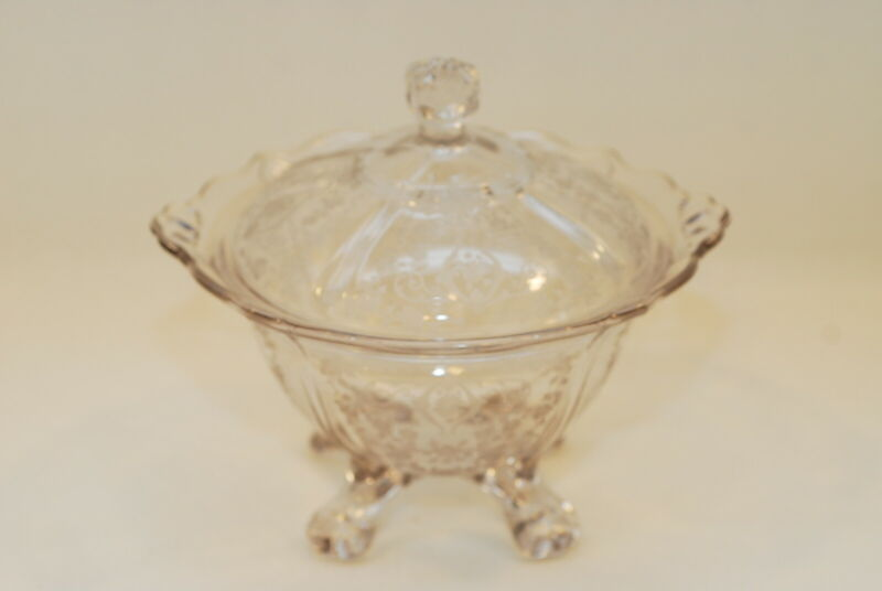 Cambridge Diane Etch #3400/9 Four Toed Footed Candy Dish With Cover