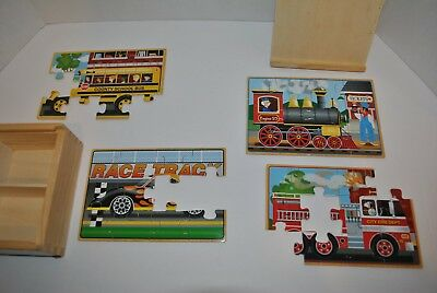 Melissa and Doug Wooden Jigsaw Puzzles in a Box Vehicles (Missing - Doug Vehicles Jigsaw Puzzles