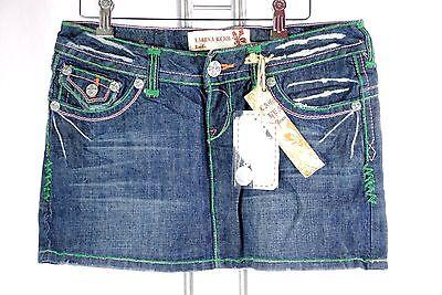 NWT LAGUNA BEACH Denim Crystal Cove Mini Skirt hand stitched jeans green Stitch