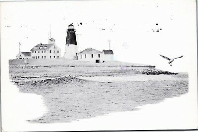 Port Judith Lighthouse postcard pencil drawing by Charles M Silverman
