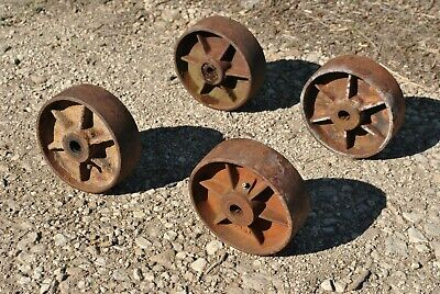 Heavy Disk Type Ribbed Cast Wheels Hit Miss Gas Engine Steam Industrial Cart