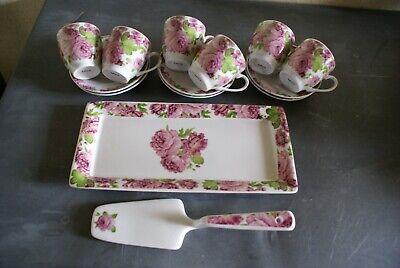 Service à Cake en Porcelaine Décor Floral Plat Pelle Tasses Sous-tasses