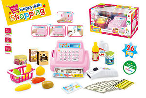 26 Piece Childrens Supermarket Shop PINK Cash Till Register & Role Play Food 542