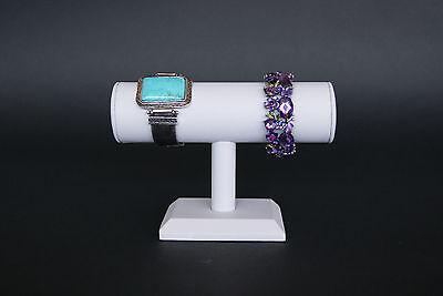 7wx5h White Leatherett Jewelry Display T Bar Bracelet Bangle Watch Stand Pj49w