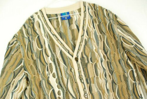 Vintage 90s Limnos 3D Abstract Cardigan Sweater Biggie Cosby Mens L