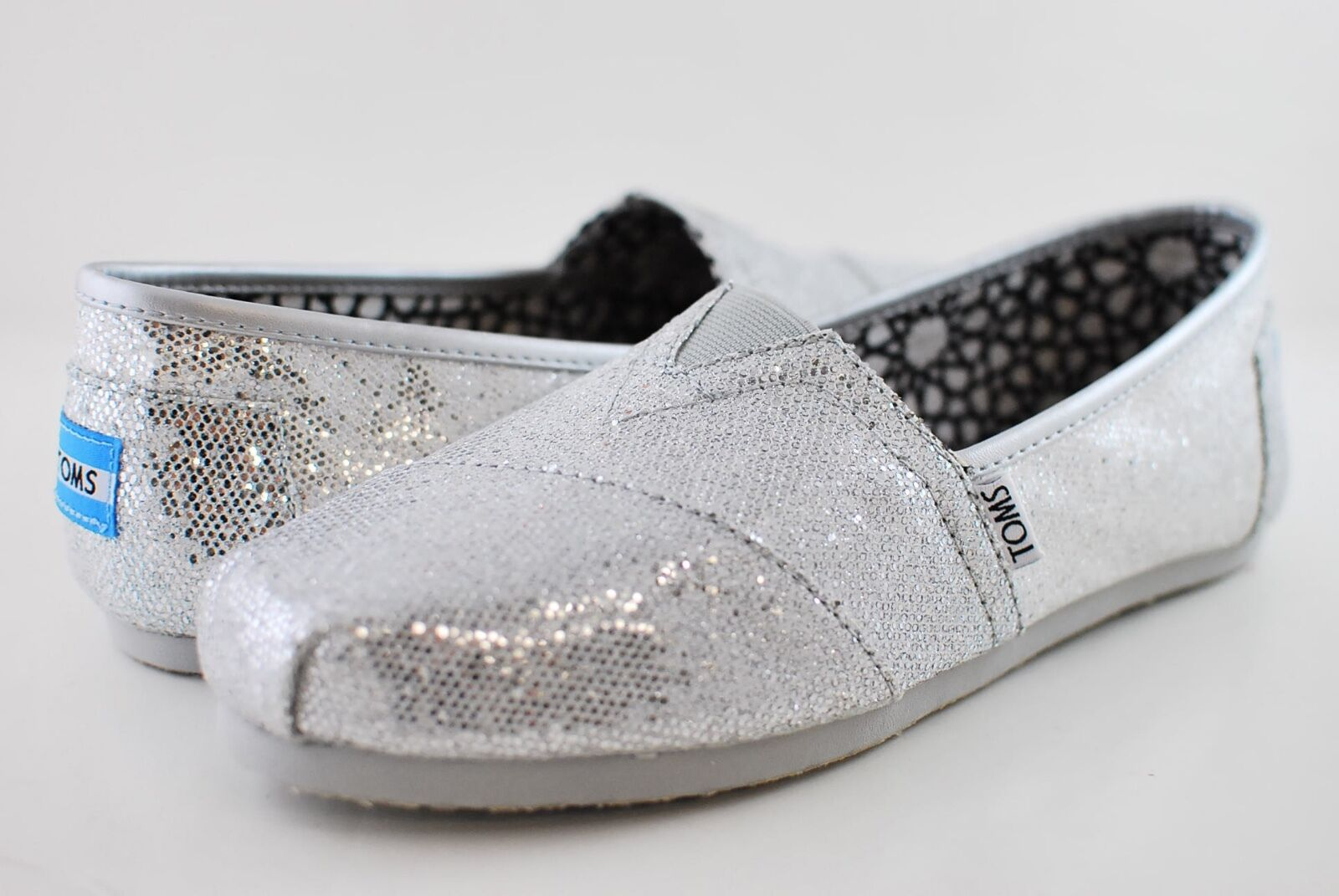 $36.99 - New Authentic Women Silver Glitter Toms Shoes