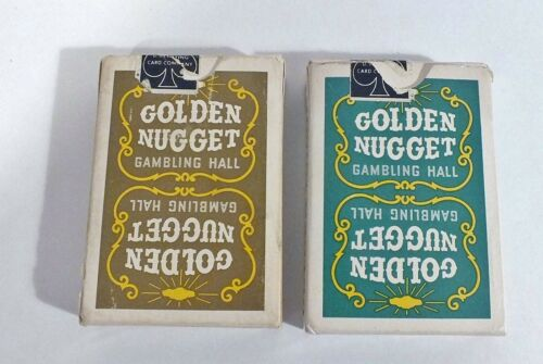 Two Decks - Golden Nugget Playing Cards Vintage Brown & Green Pre-Owned