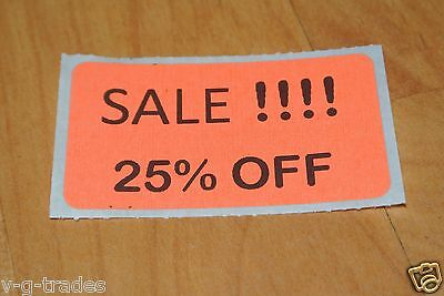 Lot 200 Orange Sale 25 Off Price Labels Stickers Tags Retail Store 2x1 Inch