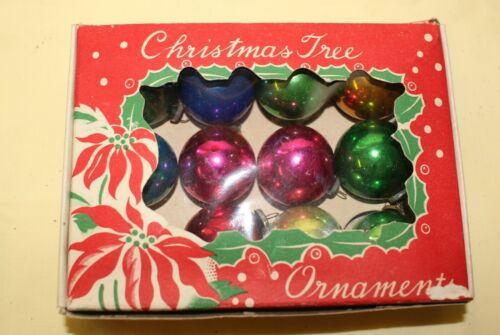 Small Box 12 - 30 mm Round Glass Solid Color Holiday Christmas Ornaments Japan