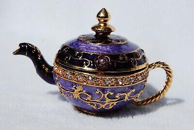 SWAROVSKI CRYSTAL BEJEWELED ENAMELED HINGED TRINKET BOX- PURPLE TEAPOT Crystal Purple Trinket Box