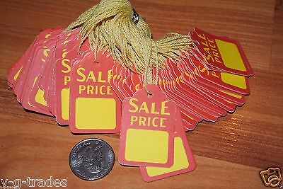 New Lot 100 Sale Red Yellow Print 1x2 Paper Merchandise Price Tags With String