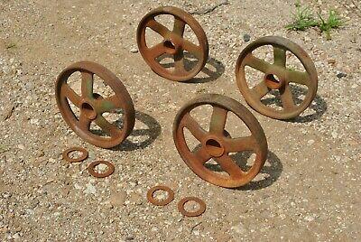 John Deere Spoke Cast Iron Wheels Hit Miss Gas Engine Steam Punk Industrial Cart