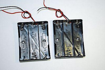 2 Pcs Black Plastic 3 x3.7V 18650 Type Battery Holder Case Storage Box A094