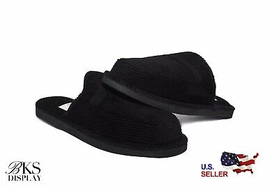 Mens Black Open Back House Shoes Slippers Moccasin Slip-on Corduroy Comfort