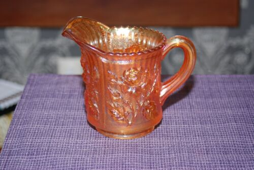 Imperial Carnival Glass Marigold Luster Rose Creamer Pitcher