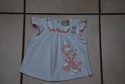 Bébé T-shirt blanc fleuri rose manches courtes T62cm/2-4 M à 1€ Très Bon Etat