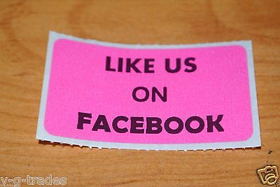 Lot Of 100 Pink Like Us On Facebook Shipping Stickers 2x1 Inch Label Boxes