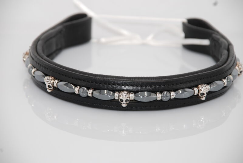 """16"""" (Full/Horse) Black Browband with Hematite and Pewter Skulls"""