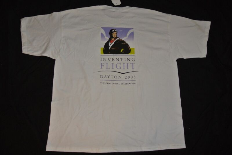 Mens XXL Ultra Cotton Inventing Flight 2003 Dayton T-Shirt, New with tags